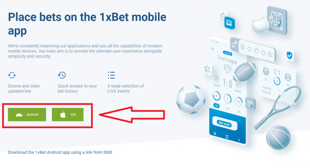 1xBet mobile version